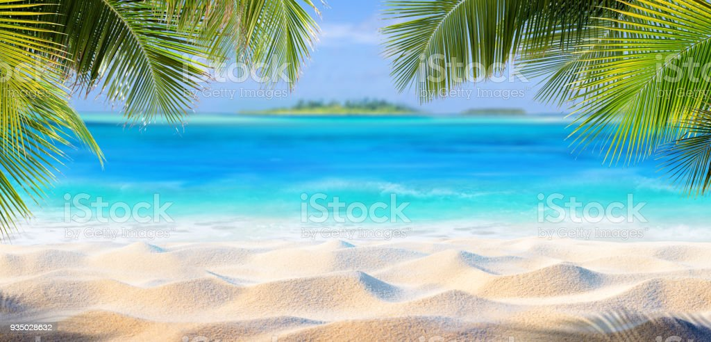 Tropical Sand With Palm Leaves And Paradise Island - foto stock