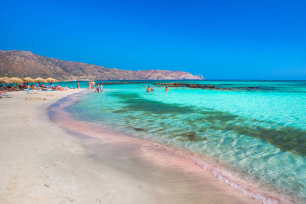 Tropical sandy beach with turquoise water, in Elafonisi, Crete stock photo