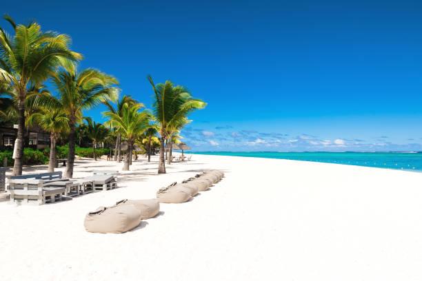 Tropische Landschaft - schöner Strand mit blauem Ozean und klarem Himmel der Insel Mauritius, Le Morne – Foto
