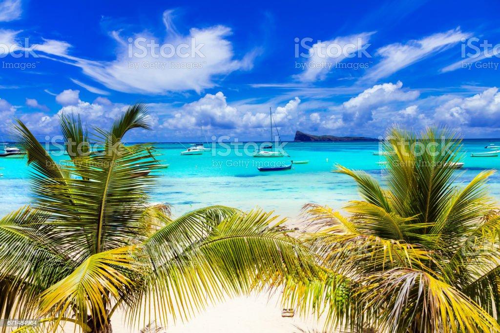 Tropical scenery - Cap Malhereux in Mauritius island stock photo