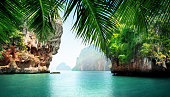 熱帯の海とロック