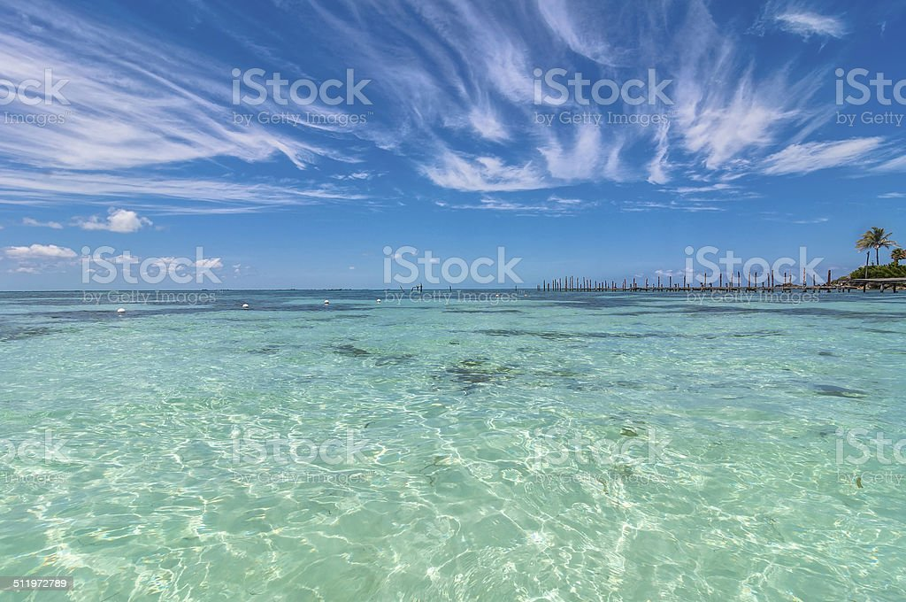tropical sea in Isla Mujeres, Mexico stock photo