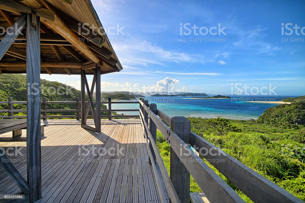 Tropical sea landscape in Pacific Ocean island stock photo