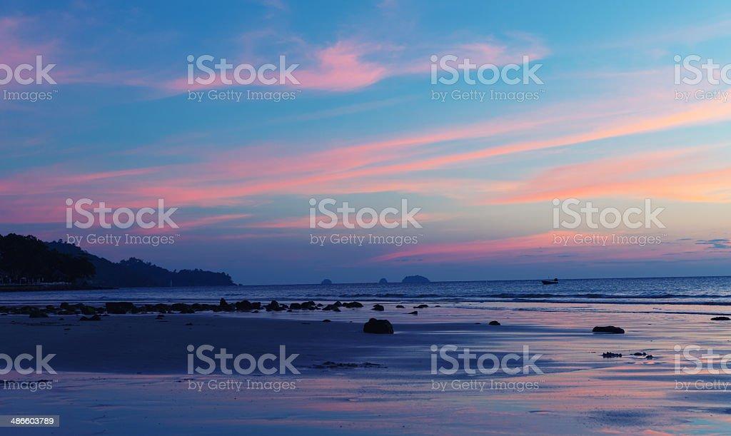 Tropical sea sanset stock photo