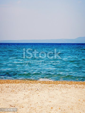 Tropical seascape. Sky and sea Sand  beach.