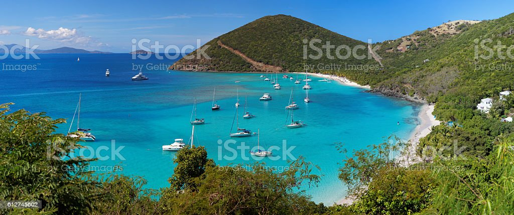 Tropical shoreline in British Virgin Island (BVI), Caribbean stock photo