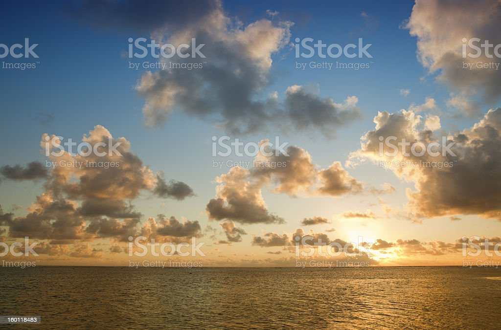 Tropical Sky with Cloudscape and Sun royalty-free stock photo
