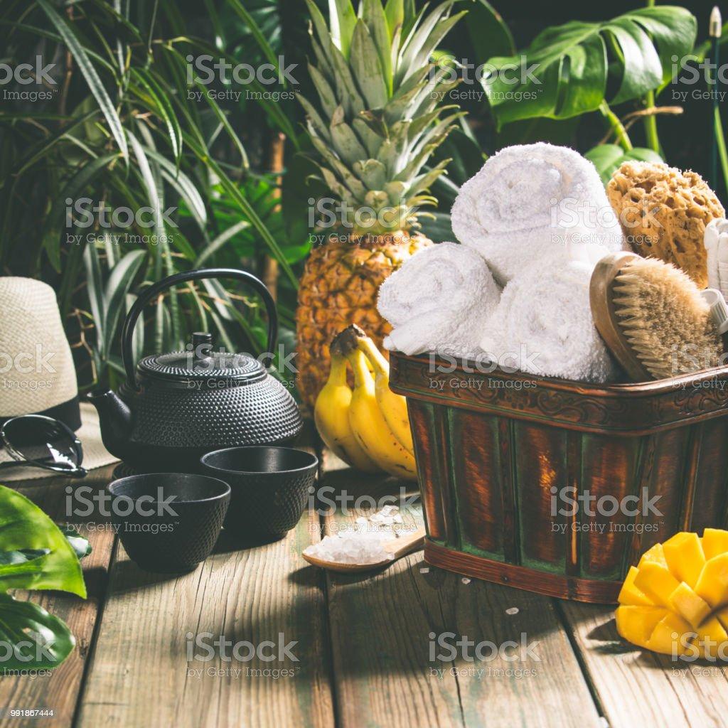 Tropical Spa setting stock photo