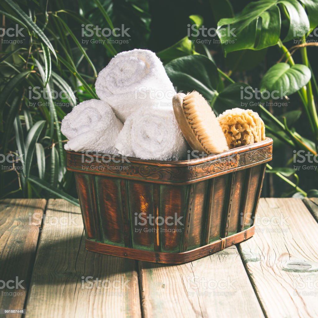 Tropical Spa setting stock photo