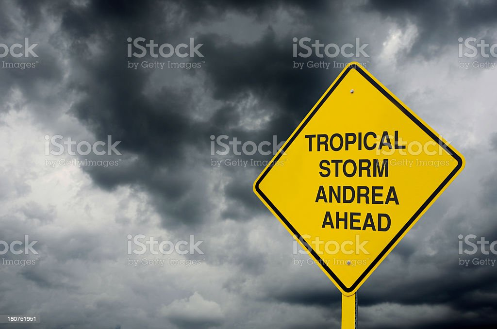 Tropical Storm Andrea Sign royalty-free stock photo