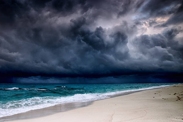 Tropical storm over the Caribbean sea stock photo