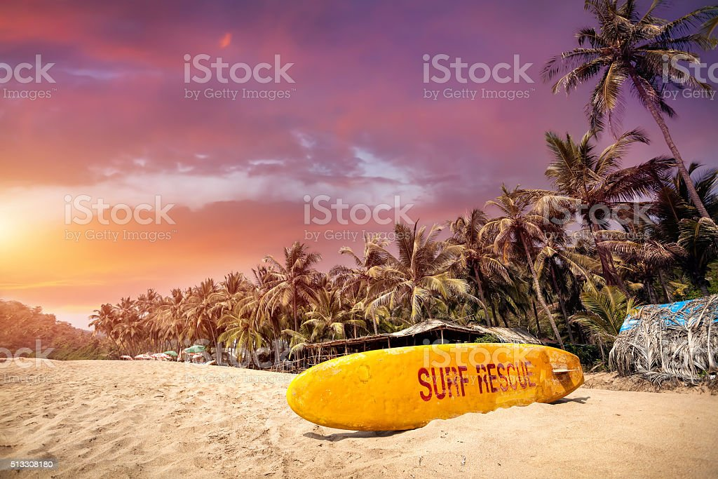 Tropical sunset at Goa beach stock photo