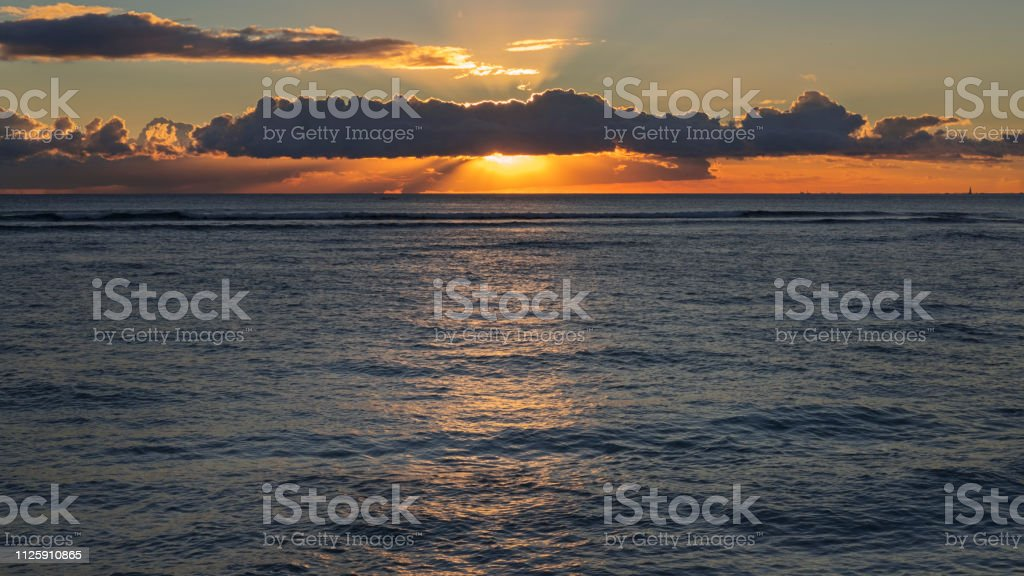 Tropical Sunset At Waikiki Beach Honolulu Oahu Island Hawaii