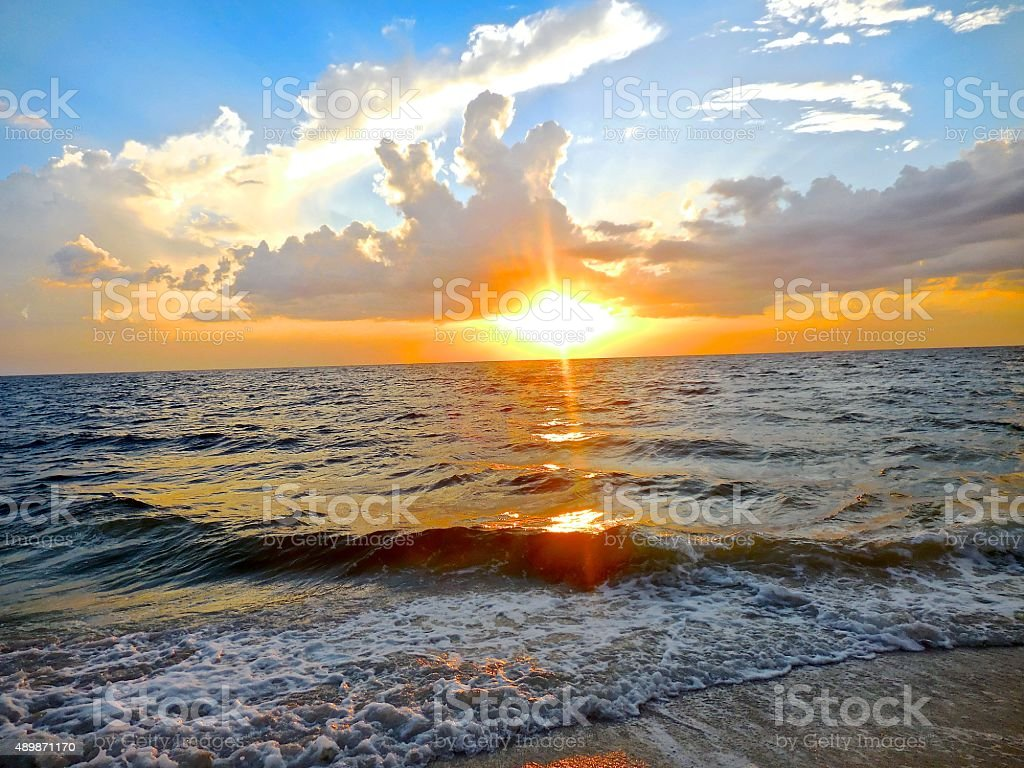 Tropical sunset in Florida stock photo