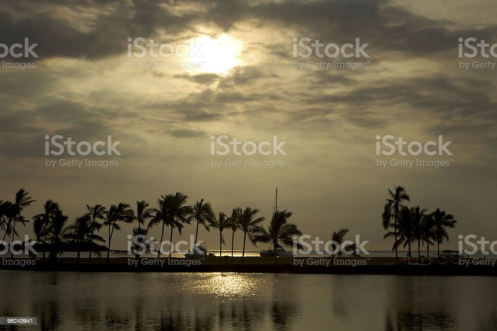 Tramonto tropicale alle Hawaii foto stock royalty-free