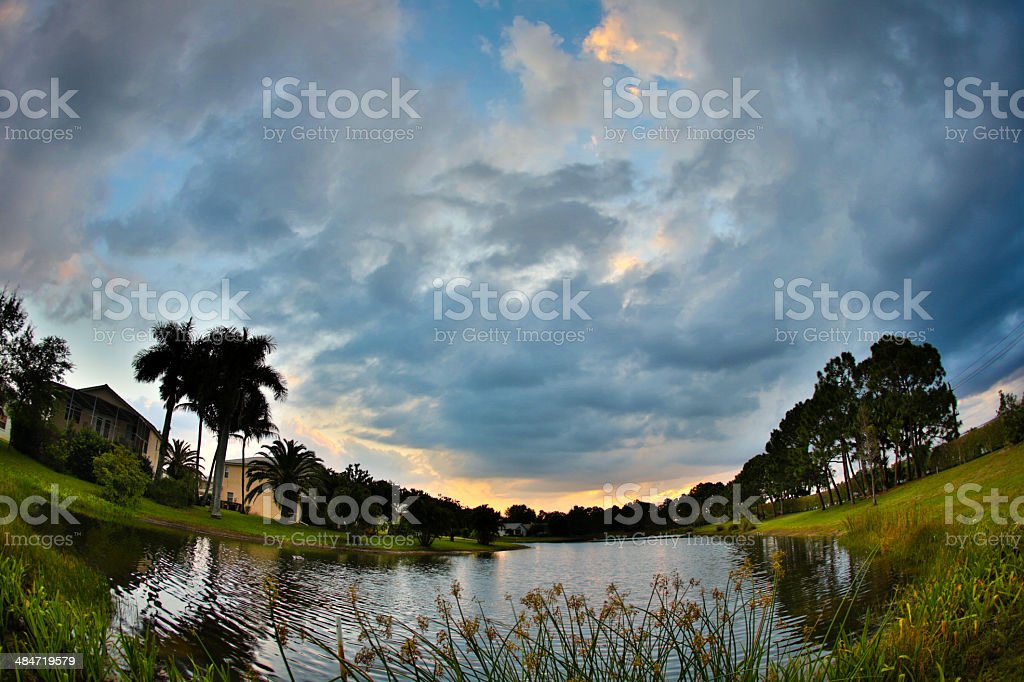 Tropical Sunset Through Fish Eye Lens royalty-free stock photo