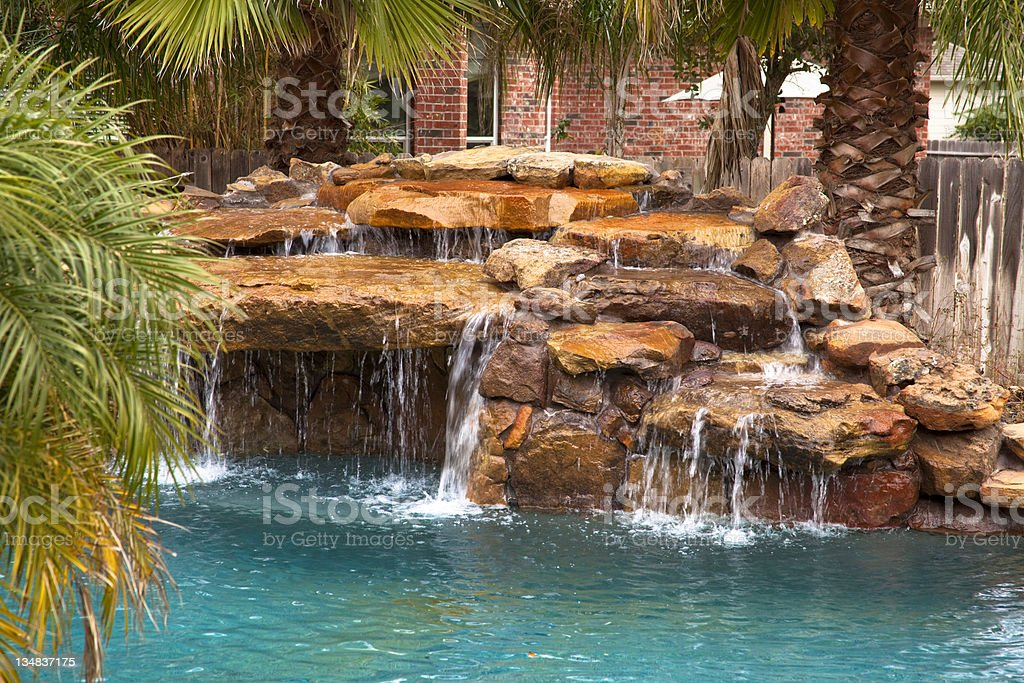 Tropical Swimming Pool With Rock Waterfall Home Yard Stock ...