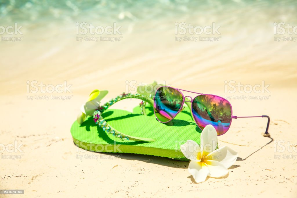 8a30a639d7cc Tropical Vacation Conceptâgreen Flipflops Frangipani Flower And ...