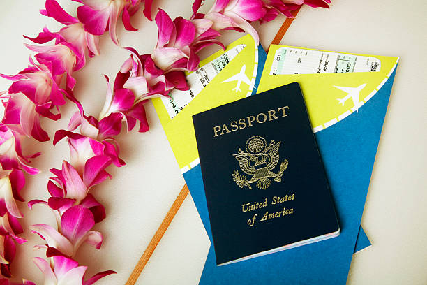 Tropical Vacation with a Passport and Tickets stock photo