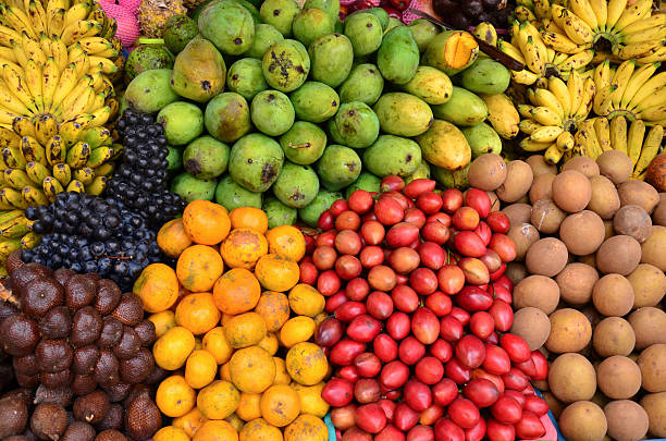 tropical variety fruits stock photo