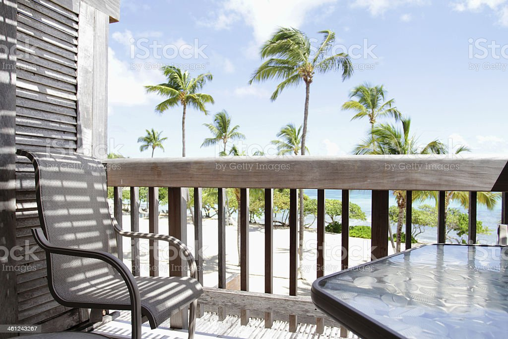 Tropical View from Deck, Lanai stock photo