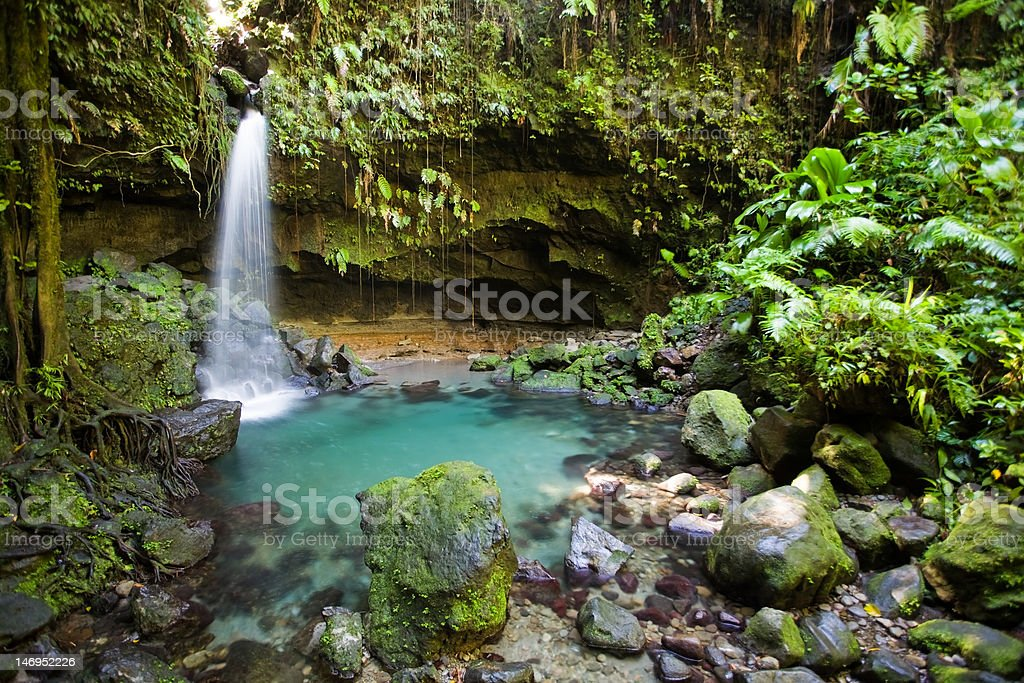Tropical waterfall and turquoise pool in lush forest stock photo