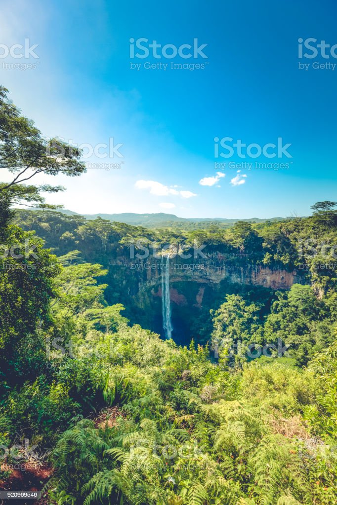 tropical waterfall in chamarel on mauritius island, africa stock photo