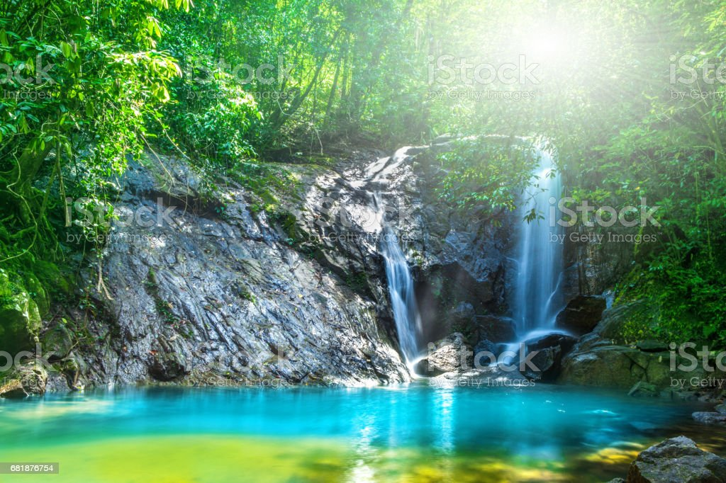 Tropical waterfall in the forest,Ton Chong Fa  in khao lak Phangnga South of Thailand stock photo