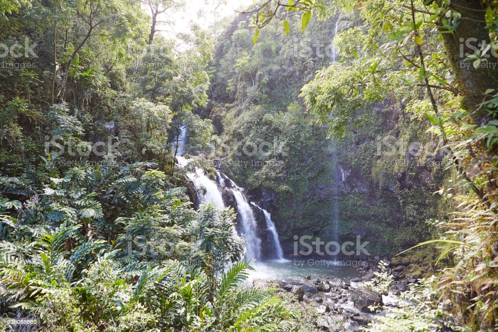 Tropical waterfall lower falls and a small crystal clear pond inside of a dense stock photo