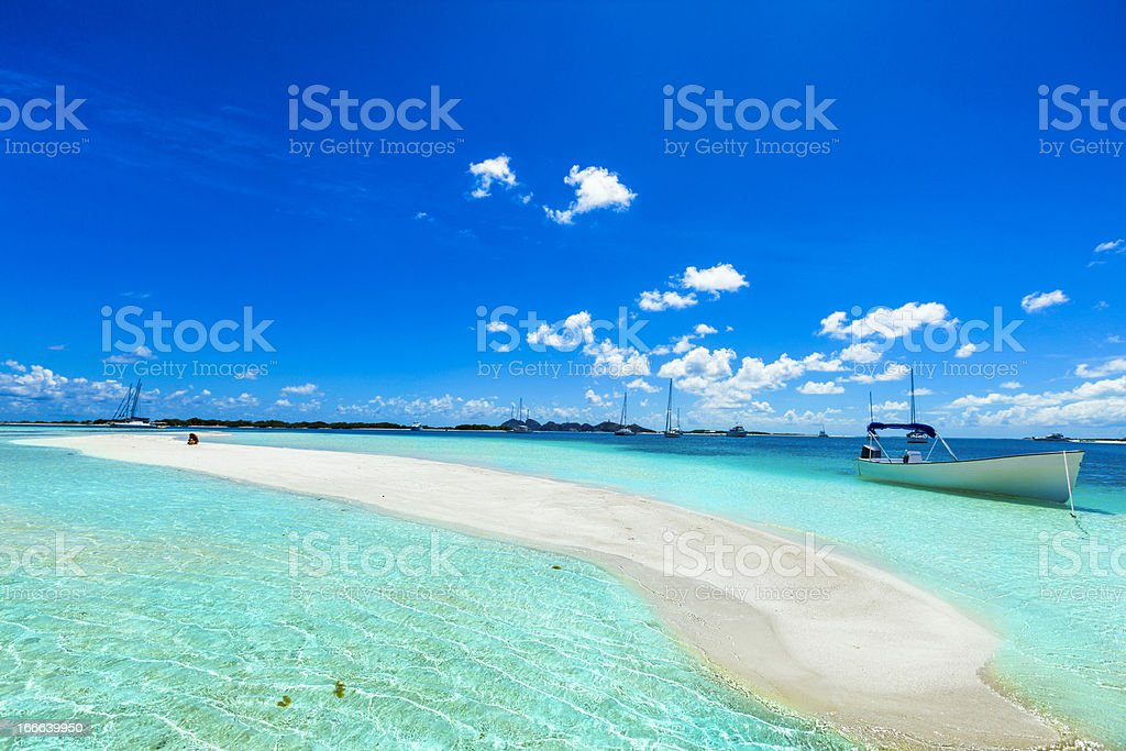 Tropical white sand cay beach in Los Roques Venezuela stock photo