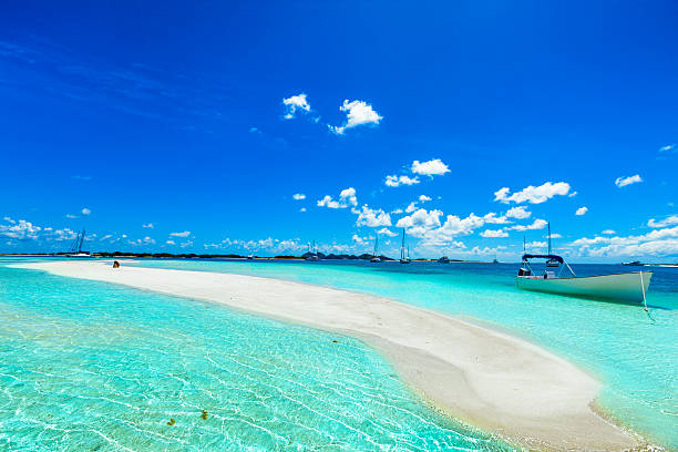 tropical white sand cay beach in los roques venezuela - venezuela stock photos and pictures