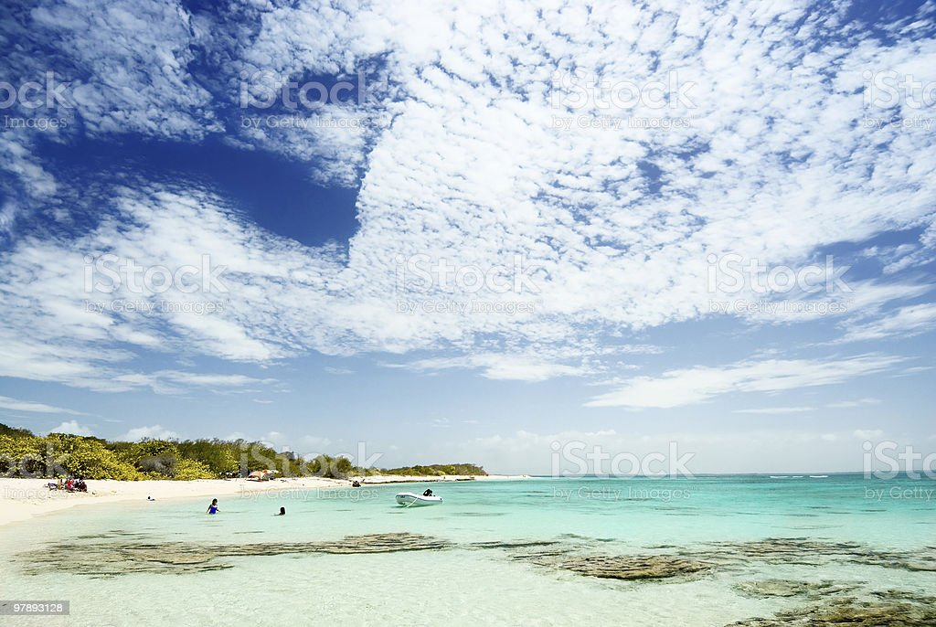 Tropical white sand cay beach royalty-free stock photo