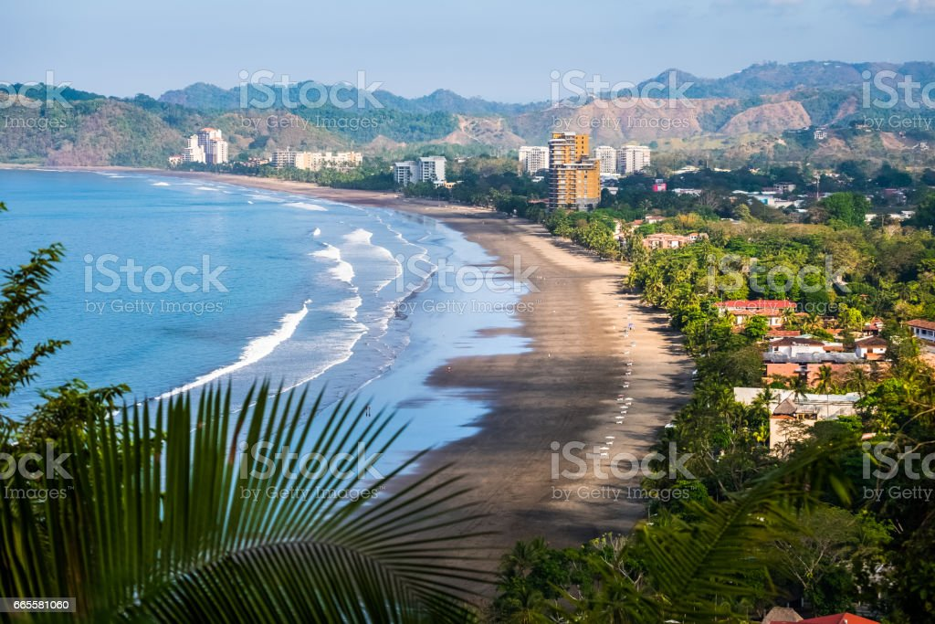 Tropical wide sandy beach stock photo