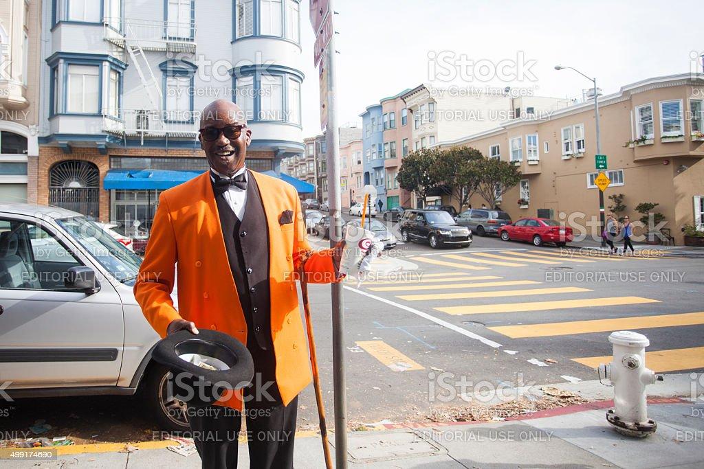 Troubadour in San Francisco Asking for Money stock photo