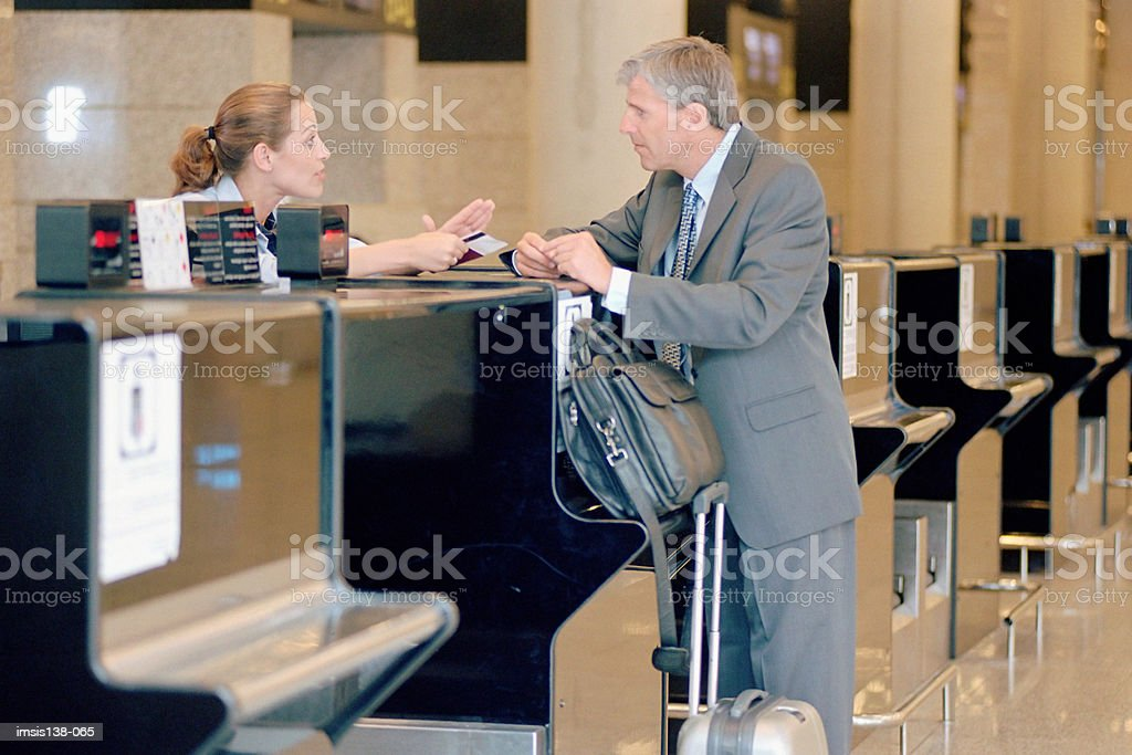 Trouble at the check-in desk royalty-free 스톡 사진