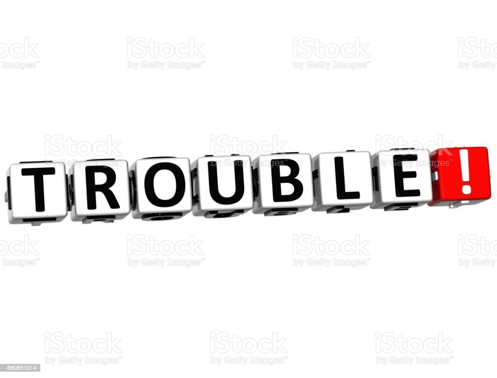 3D Trouble Button Click Here Block Text royalty-free stock photo