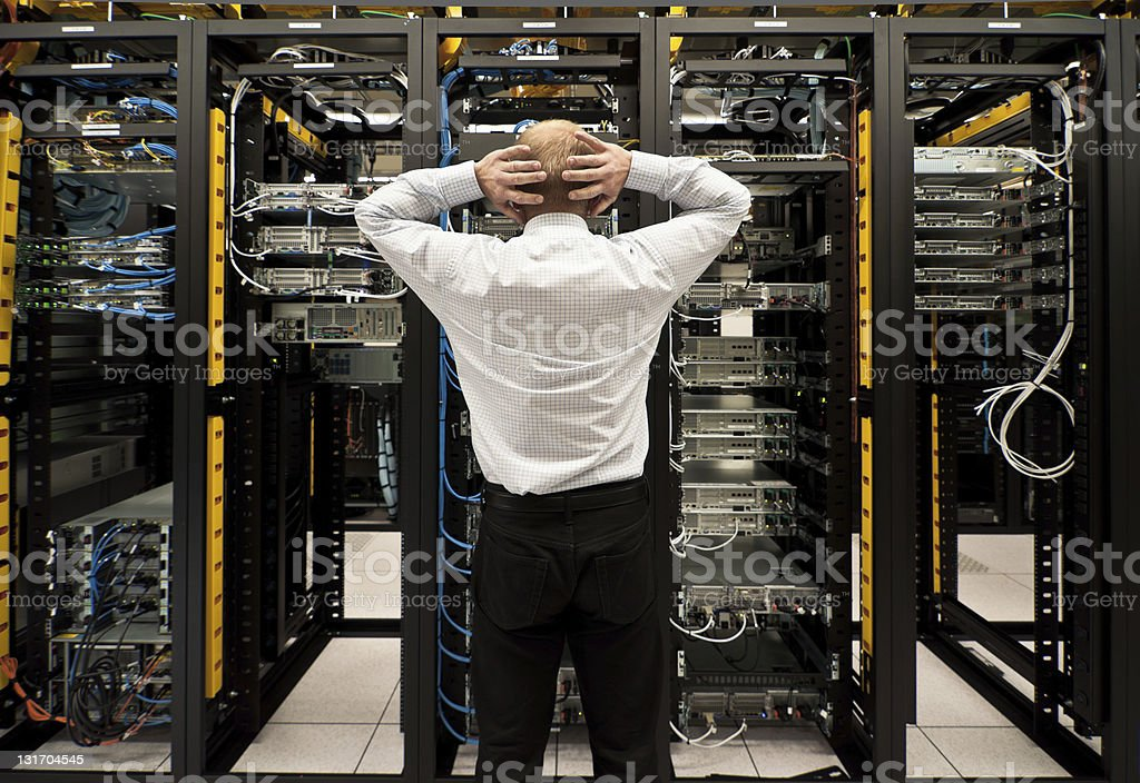 Trouble in data center royalty-free stock photo