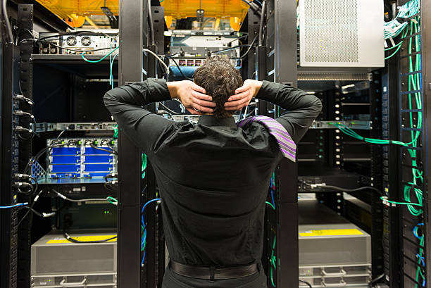 Trouble in data center stock photo