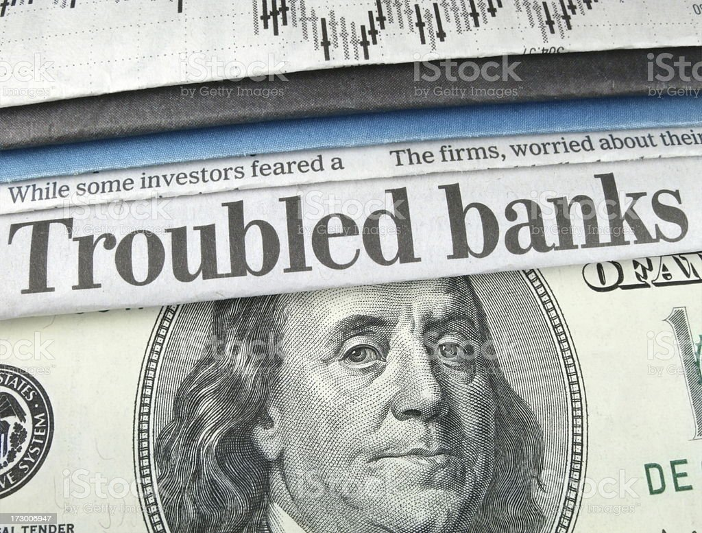 Troubled Banks Headline royalty-free stock photo
