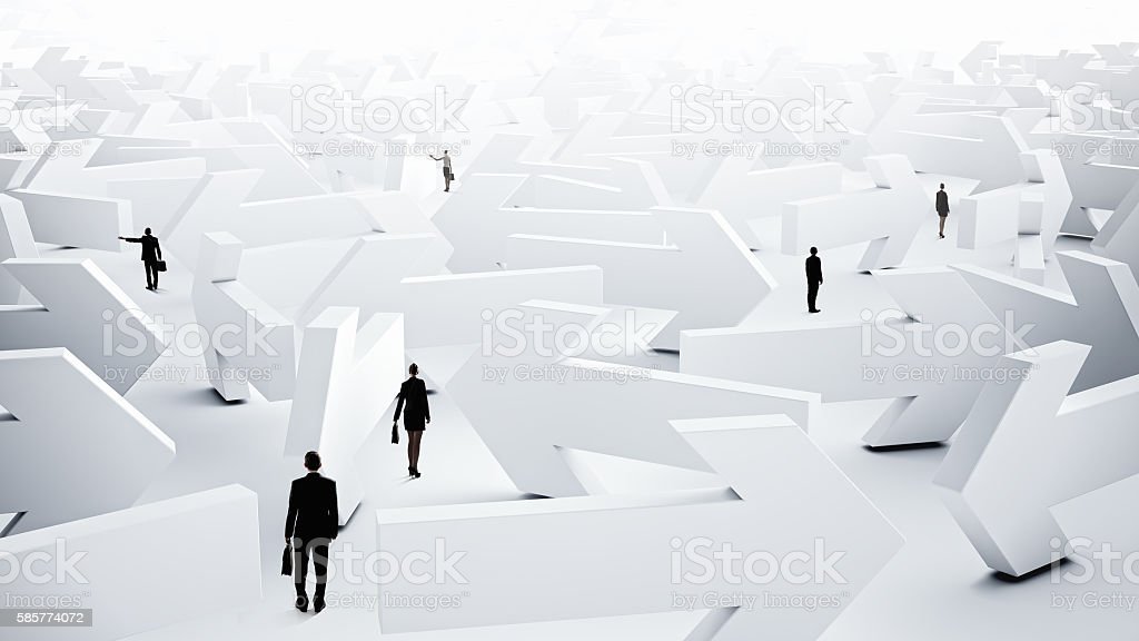 Troubled businesspeople finding way out . Mixed media stock photo