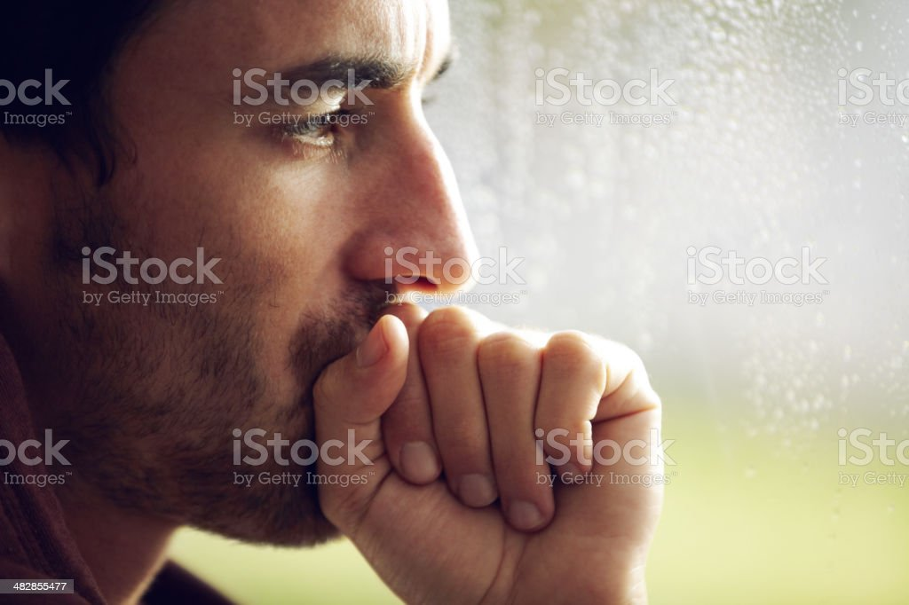 Troubled by his thoughts stock photo