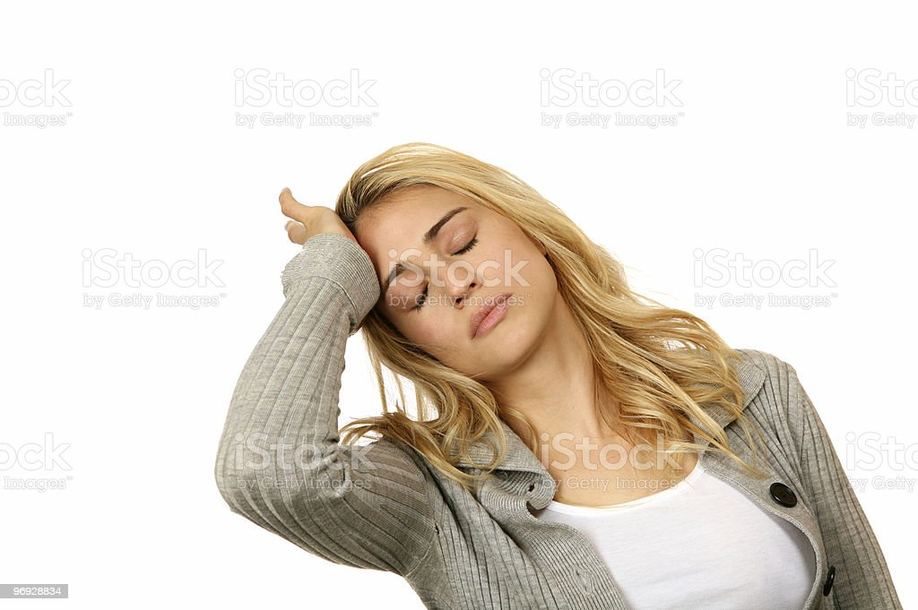 Troubled Woman Showing Emotions royalty-free stock photo