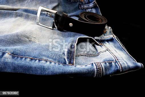 trouser belt and jeans blue jeans,
