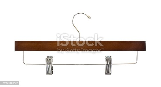 A new trouser hanger with metal clips on a white background.