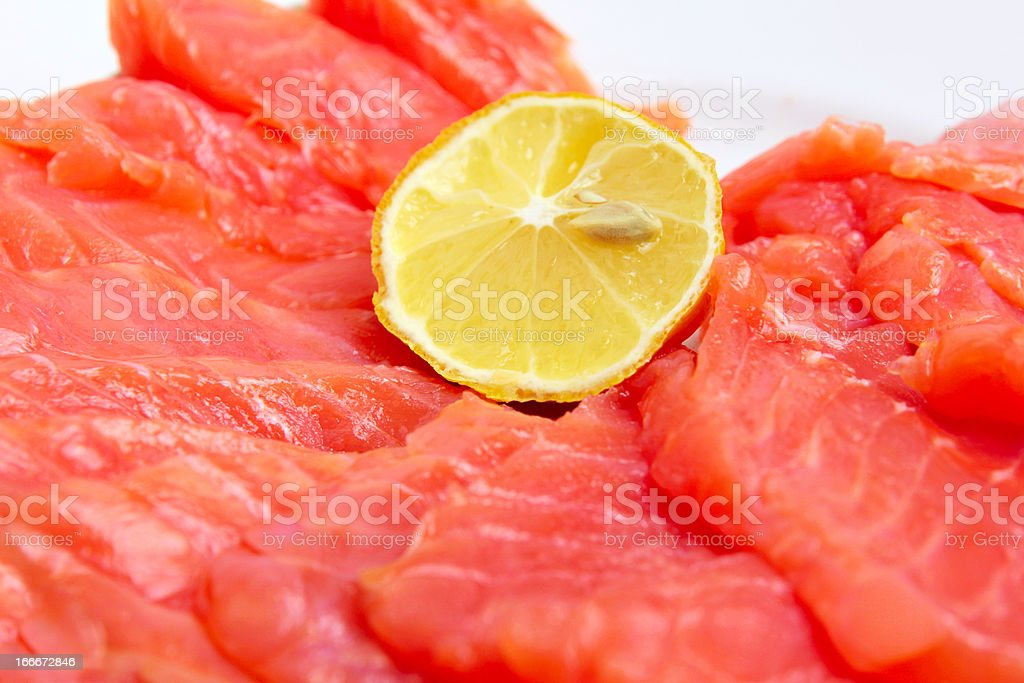 trout and lemon royalty-free stock photo