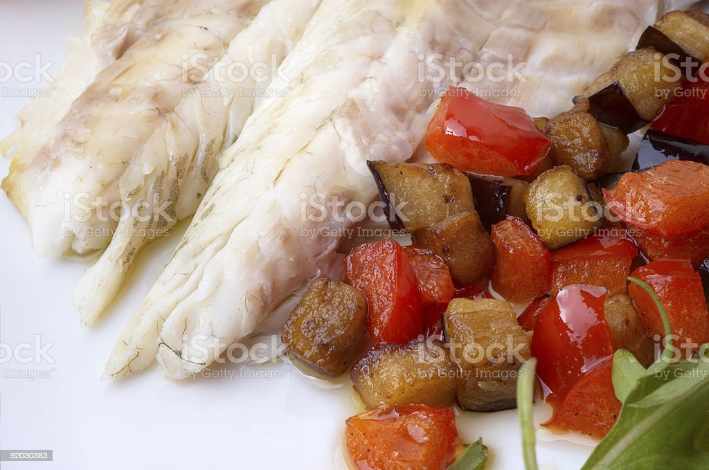 trout and vegs royalty-free stock photo