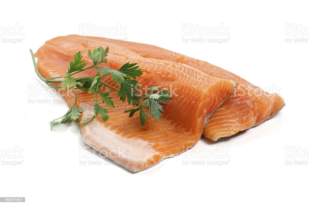 trout fillet with parsley stock photo