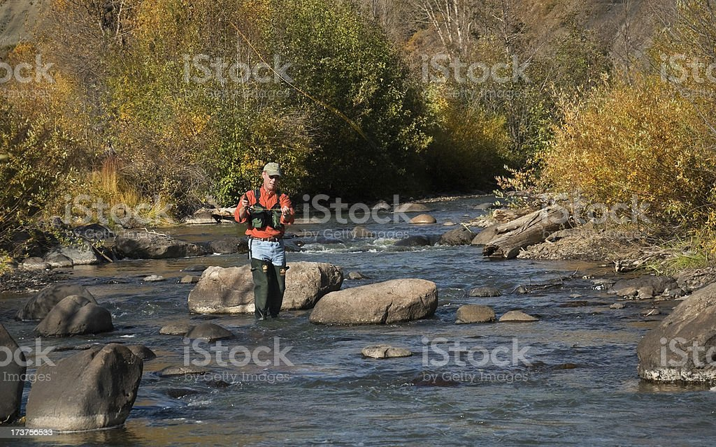 Trout Fishing in Fall stock photo