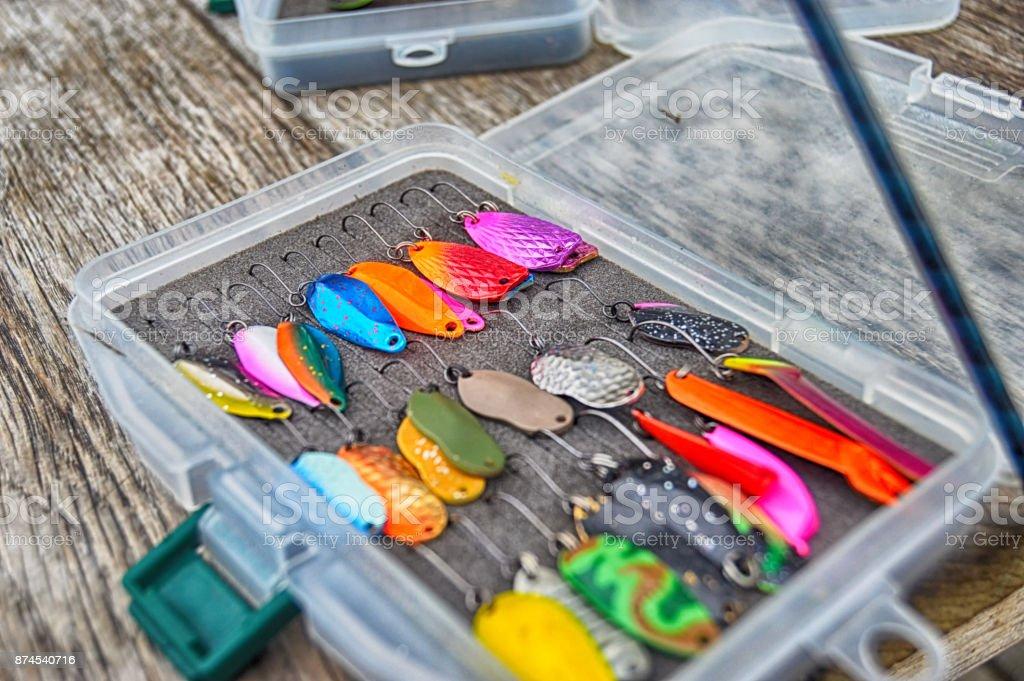 Trout fishing lure-spoon kit stock photo