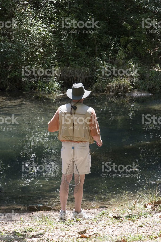 Trout Fishing on the River royalty-free stock photo